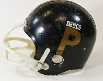 Vtg  Sears 1960's Youth Football Helmet w/ Chin Strap, Black & Gold, Size Small