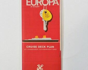 Clearance - MS Europa Cruise Deck Plan North German Lloyd Line 1966