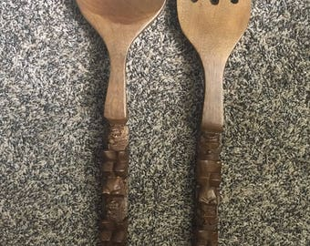 Vintage Wooden Spoon and Fork Wall Hanging