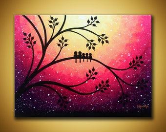 Original bird art, 5 family birds 12x16 canvas art Purple sunset art Nursery wall art Whimsical painting Children's room art birds on tree