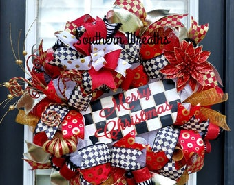 Elegant Merry Christmas Wreath, Red and Gold Front Door Christmas Wreath, Makenzie Childs Inspired Wreath, Red and Black Checkered Christmas