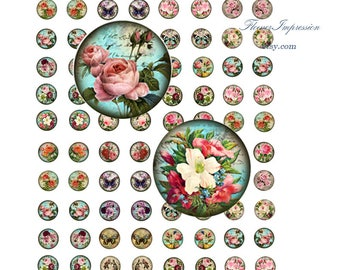 Rose Vintage - 14 mm  Images A4 21x29 cm Digital Collage INSTANT DOWNLOAD
