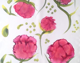Natural silk foulard. Hand painted. Yellow. Magenta. Olive green. 150x50. Single piece.