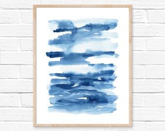 Abstract Watercolor Print No.5, Watercolour Wall Art, Modern Minimalist Painting, Blue, Brush Stroke, Abstract Watercolor Artwork Wall Art