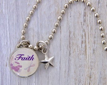 Faith Charm, Kids Necklace, Childrens Jewelry, Girls Necklaces, Girls Bracelets, Interchangeable jewelry, Kids Bracelet, Photo Jewelry,