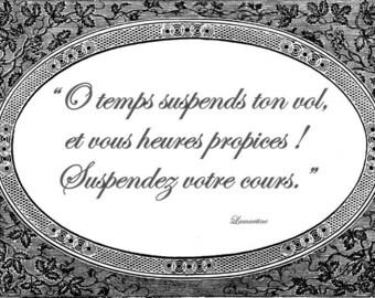 Laminated placemat baroque Lamartine quote