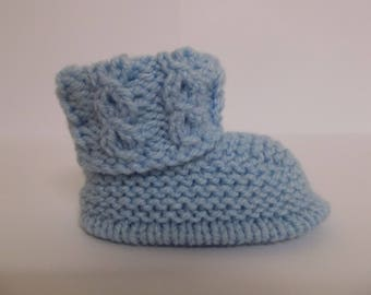 Hand Knitted Baby Booties, Baby Boy Boots, Baby Slippers, Baby Shoes, Baby Shower Gift, Baby Crib Shoes, Blue Baby Boots, New Baby Gift