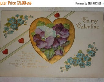 ON SALE till 7/28 Valentine With Pansies and Forget-Me-Nots Antique Postcard