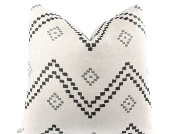 Peter Dunham Textiles Taj Pillow Cover, Onyx, Ash, Linen, Black, Natural, Gray, Linen, Geometric, 18x18, 20x20, 22x22, 24x24