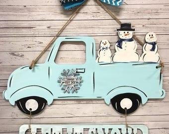 Snowman door hanger snowman truck door hanger snowman truck winter door hanger & Creator of custom door hangers and signs by WhippoorwillCharm
