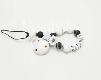 """Pacifier clip personalized silicone beads - model """"Rémy"""""""