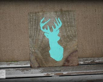 Deer Sign / Mint Green Sign / Deer Silhouette Sign / Farmhouse Sign / Nursery Sign / Baby Sign / Rustic Wood Sign / Pallet Sign