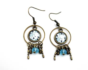 Bohemian turquoise bubble cabochons with stars and blue glass bead earrings