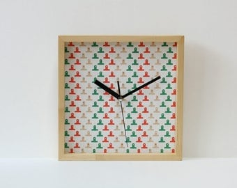Pinewood & Fabric Wall Clock Silent No Ticking Handmade