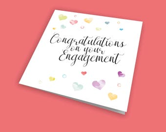 Congratulations on your Engagement, Occasion Card, Engagement Card, Congratulations Card, Announcement Card