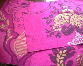 "Designer's Guild Amalienborg Rococo ""TRIANON"" + Arabella ""GIACOSA"" Magenta Berry Pink 2 x Matching Silk Fabric Panels ~ Ideal Cushion Craft"