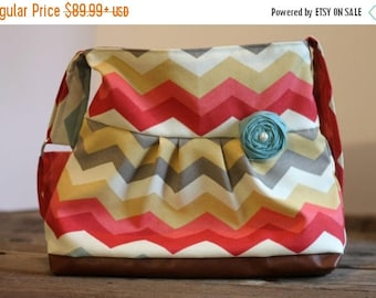 CHRISTMAS SALE Conceal Carry Purse, Medium Messenger Bag, Multi Colored Chevron, Conceal Carry Handbag, Concealed Carry Purse, Conceal and C