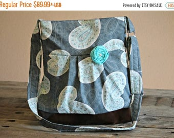 CHRISTMAS SALE Concealed Carry Purse, Medium Messenger Bag, Grey Aqua Paisley, Conceal Carry Handbag, Concealed Carry Purse, Conceal and Car