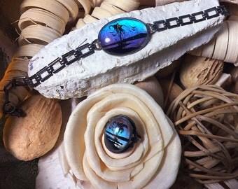 Butterfly wing jewelry bracelet & ring set • art nouveau • antique • vintage