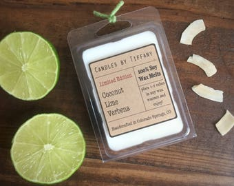 COCONUT LIME VERBENA Soy Wax Melts, Ready to Ship, Clamshell Melts, Eco Friendly Soy Wax Tarts, Scent Shots, Fruity Scents, Floral