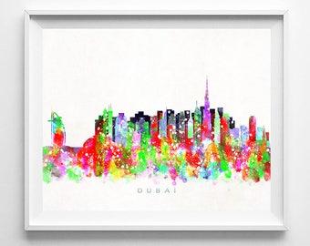 Dubai Skyline Print, UAE Print, Dubai Poster, Arab Cityscape, Watercolor Painting, Poster, Wall Art, Bed Room Decor, Mothers Day Gift