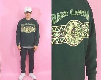 Vintage sweatshirt grand canyon green 1990s 1980s crewneck sweatshirt jumper tourist souvenir dad mom