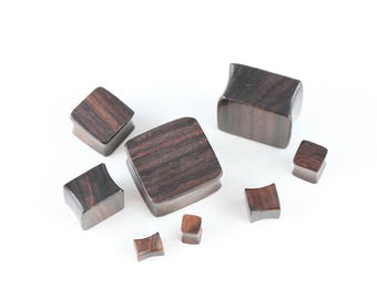 Wood Square Plugs for Stretched Ears - Shaped plugs for stretched ears - Hand Carved Wood - PA52