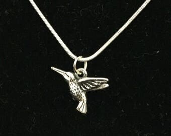 SHIPS FREE! Silver Hummingbird Necklace Hummingbird Pendant Silver Hummingbird Charm Hummingbird Jewelry Bird Hummer