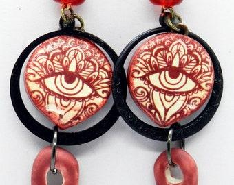 Hamsa Evil Eye Earrings, Red Polymer Clay, Bohemian Earrings, Ceramic Dagger Earrings, Pierced Beaded Earrings, Red Earrings, Dangles