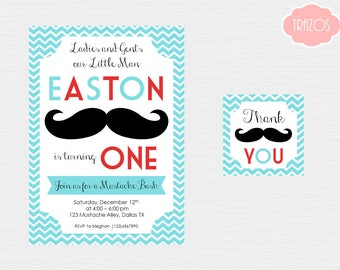 Mustache Invitation and Thank You Tags - Printable Mustache Invitation - Mustache Birthday