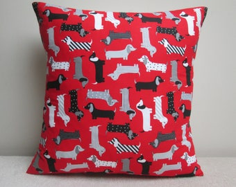 """Handmade Urban Zoologie Dachshunds Sausage Dogs Cushion Cover Pillow Cover 16"""" Ready To Ship"""