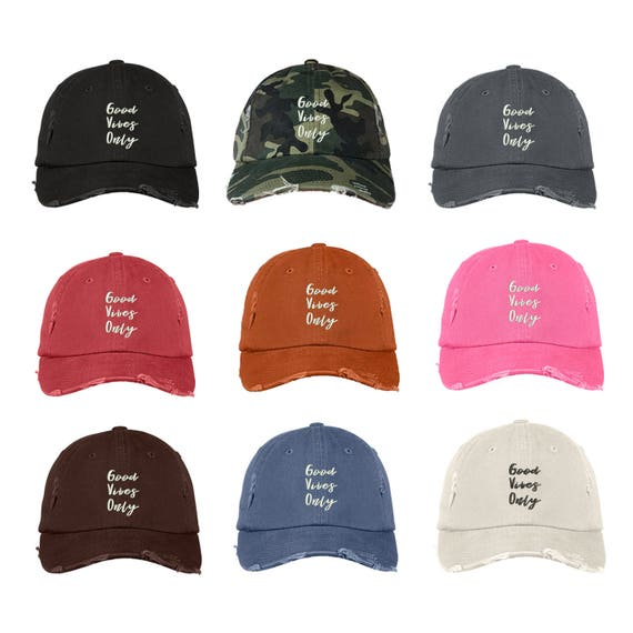 "GOOD VIBES ONLY Distressed Dad Hat, Embroidered Cursive ""Good Vibes Only"", Low Profile Positive Attitude Baseball Cap Hats, Many Colors"