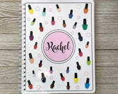 Nail Salon Yearly Appointment Book with Income Tracking - Nail Polish Bottles Design - Personalized