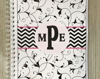 2018 Dated Yearly Appointment Book - Personalized - Black Swirls Design