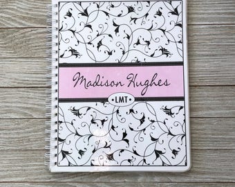 Salon Yearly Appointment Book with Income Tracking - Elegant Swirls Design - Personalized