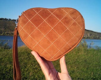 """Women's bag  """"Heart"""" of genuine suede, quilted."""