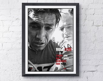 Eddy Merckx cycling motivational print poster Rule #20