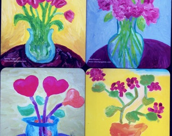 Flower Beverage Coasters Featuring Original Artwork