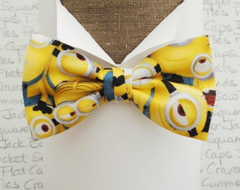 Bow ties for men, minions bow tie, yellow bow tie, pre tied or self tie novelty print bow tie
