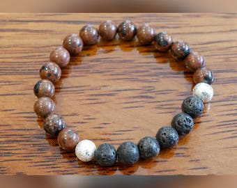Genuine Mahogany Obsidian Gemstone Bracelet with Lava Beads
