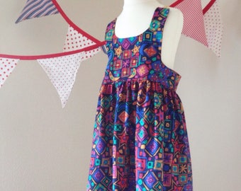 Liberty fabric dress // Age 6 years  // geometric summer floaty navy blue patterned UK seller