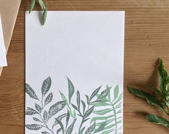 """Postcard plant pressure """"Greeting from the garden"""", botanical postcard, hand-printed, 10x15cm"""