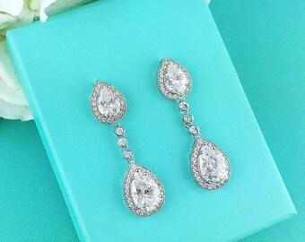 SALE 50% Off Wedding Bridal Earrings, Pear cubic zirconia CZ jewelry, wedding earrings, bridal jewelry, wedding earrings, bridesmaid jewelry