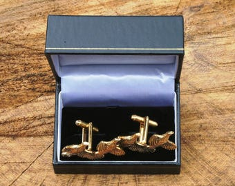 Brace Of Partridge Design Gold Plated Cufflinks UK Handmade Gift Boxed