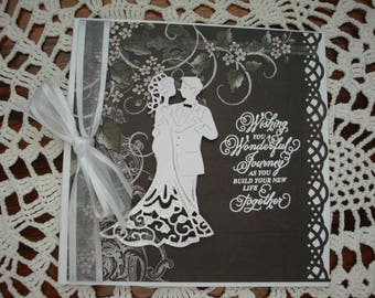 Wedding Day Card, Wedding card, black and white, 3 dimensional, Mr and Mrs,  Bride and Groom, Congratulations, Married Couple, Best Wishes