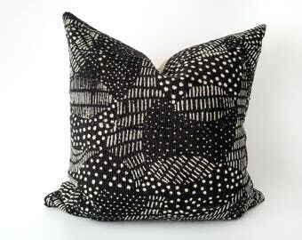 Authentic Mudcloth Pillow, Mali Bogolan, Black, Off-White, Cream, Inticate Modern Swirling Dots and Lines