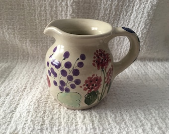 Hand Painted Pottery Creamer, Fruit Pattern, Fruit Design on Creamer,Small Pitcher, Syrup Pourer, Signed