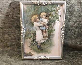 "Childrens Vintage Print, ""Our Secret"",  Harriet M Bennett, Victorian Childs Print, Edwardian Print, Ornate Silver Frame, Storybook Print"