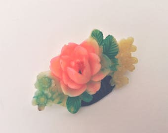 Vintage 1930s Tiny Celluloid Basket with Flowers Pin Brooch