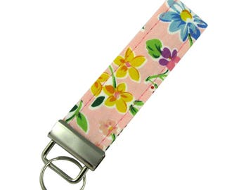 Personalized Key Chain / Key Colorful Flowers With Optional Initials
